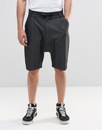 Темно-серые шорты с завязкой и заниженным шаговым швом ASOS - Угольный