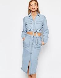Джинсовая рубашка с завязкой спереди Boohoo - Синий