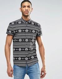 Рубашка с короткими рукавами и ацтекским принтом ASOS - Черный