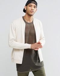Белая трикотажная куртка-пилот ASOS - Серый