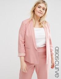 Льняной блейзер строгого кроя ASOS CURVE - Розовый