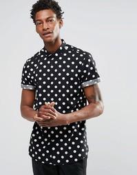Черная рубашка классического кроя в горошек с короткими рукавами ASOS