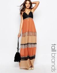 Платье макси с кружевными вставками и принтом Glamorous Tall - Мульти