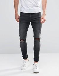 Светло-серые супероблегающие джинсы с рваными коленками ASOS - Серый