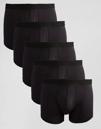 Комплект из 5 пар боксеров-брифов ASOS СКИДКА 28% - Черный