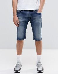 Темные джинсовые шорты слим в винтажном стиле Diesel