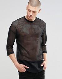 Сетчатая oversize-футболка с рукавами 3/4 ASOS - Черный