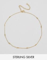 Серебряное ожерелье‑чокер с планкой ASOS - Золотой