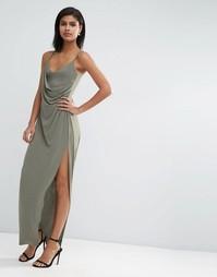 Креповое длинное платье-сорочка с запахом ASOS - Хаки