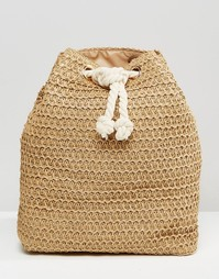 Соломенная сумка дафл с веревочной завязкой Monki - Коричневый
