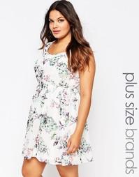 Приталенное платье с цветочным принтом Lovedrobe Plus