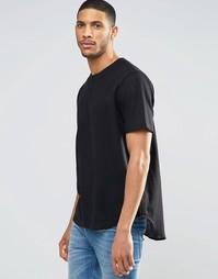 Черная фактурная футболка с коротким рукавом ASOS - Черный