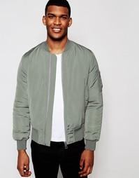 Куртка-пилот цвета светлого хаки с карманами ASOS MA1 - Серый