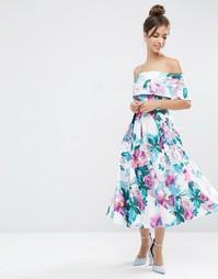 Платье миди для выпускного с открытыми плечами и принтом ASOS - Мульти