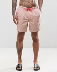 Пастельно-розовые шорты для плавания средней длины с неоновой завязкой Asos