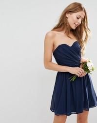 Шифоновое платье мини в стиле бандо ASOS WEDDING - Темно-синий