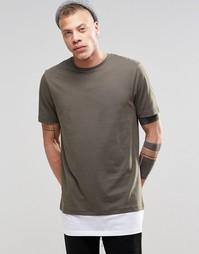 Длинная футболка цвета хаки ASOS