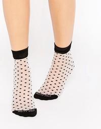 Прозрачные носки в горошек Pretty Polly - Черный