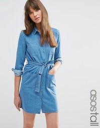 Выбеленное голубое платье-рубашка из денима с ремнем ASOS TALL - Синий