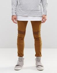 Коричневые супероблегающие джинсы с байкерской отделкой ASOS