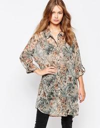 Длинная рубашка с цветочным принтом Vila Loretta - Мульти
