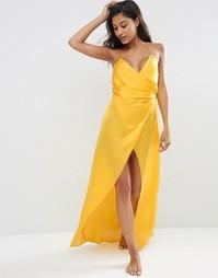 Атласное платье-сорочка макси ASOS - Желтый