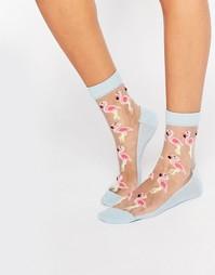 Прозрачные носки с фламинго ASOS - Мульти
