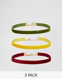 Набор из 3 бархатных ожерелий-чокер Rock N Rose Janis - Мульти
