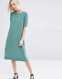 Шелковое платье миди Selected Alice - Зеленый