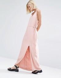 Платье макси с бретельками Selected Deisa - Розово-золотистый