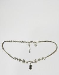 Ожерелье-чокер с темными цветами Regal Rose - Серебряный