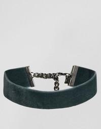 Серое бархатное ожерелье-чокер Regal Rose - Серый