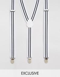 Белые подтяжки в полоску Reclaimed Vintage - Белый