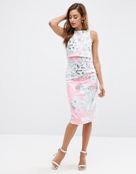 Розовое платье-футляр миди с укороченным топом и принтом ASOS - Мульти