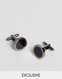 Круглые запонки с отделкой черной эмалью Reclaimed Vintage - Черный