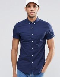 Зауженная темно-синяя рубашка с короткими рукавами ASOS - Темно-синий