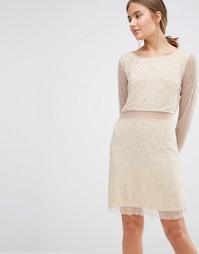 Платье с бусинами, длинными рукавами и прозрачными вставками Walter Ba