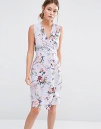 Платье миди с цветочным принтом и запахом спереди Closet