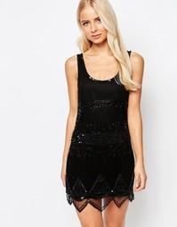 Платье мини с фигурной отделкой по краю Walter Baker Hailey - Черный