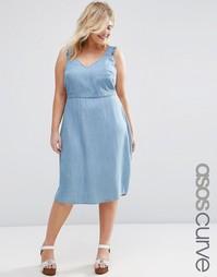 Приталенное джинсовое платье миди с оборками на рукавах ASOS CURVE