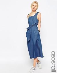 Джинсовое платье миди с ремешком ASOS TALL - Синий