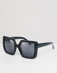 Солнцезащитные очки в квадратной oversize-оправе с блестками ASOS