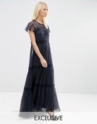 Шифоновое платье макси с кружевом Needle & Thread - Indigo - индиго