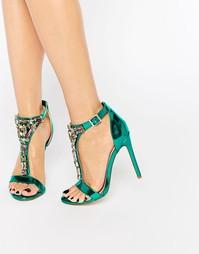 Декорированные сандалии на каблуке ASOS HEIGHTEN - Зеленый металлик