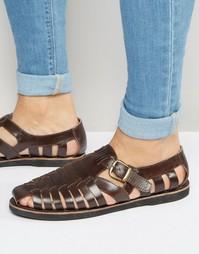 Бордовые кожаные сандалии с плетеной отделкой и пряжкой KG By Kurt Gei