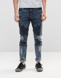 Байкерские джинсы с потертостями Systvm Nickel Seep - Серый