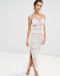 Кружевное платье макси с атласной отделкой Boohoo Boutique