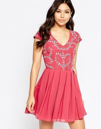 Короткое приталенное платье с отделкой Maya - Mauve