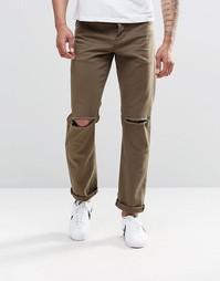 Узкие джинсы стретч цвета хаки с рваными коленками ASOS - Темный хаки