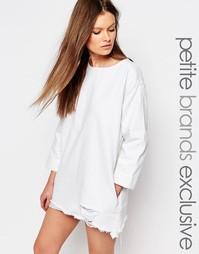 Джинсовое платье с рваной кромкой и рукавами 3/4 Waven Petite - Белый